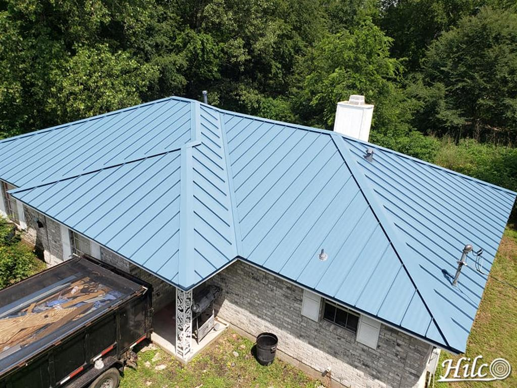 Light blue metal roofing