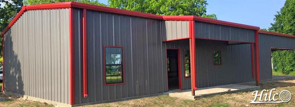 Gray metal house with Red Trim