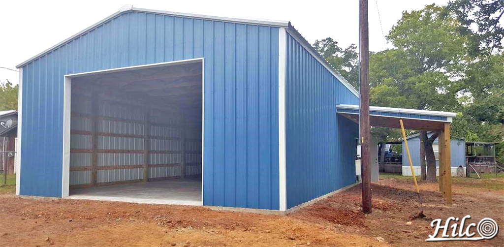 Blue Metal Siding Garage with Storage