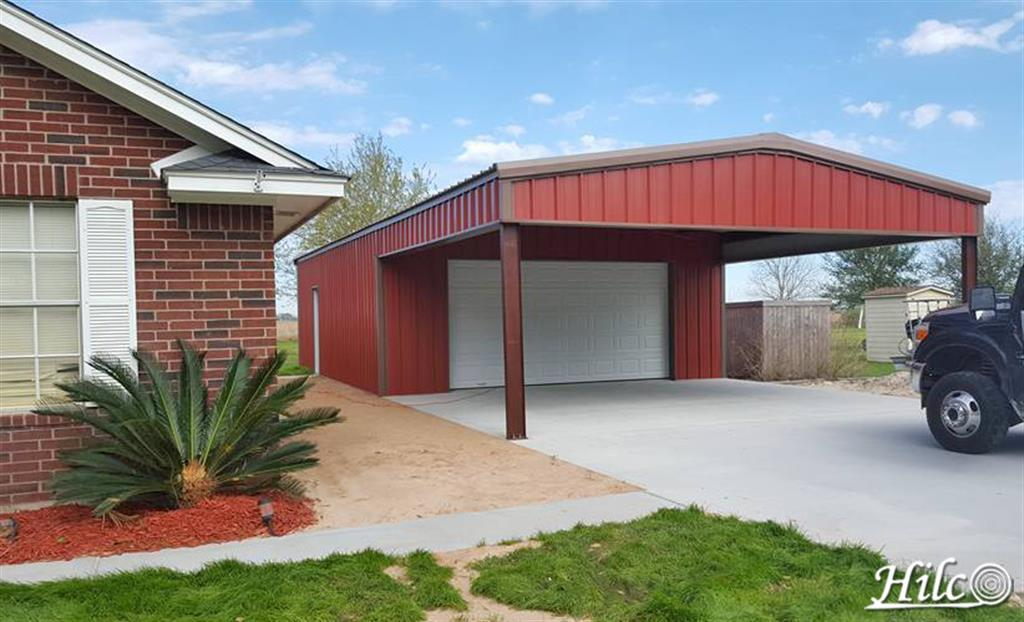 Red Steel Carport with Garage