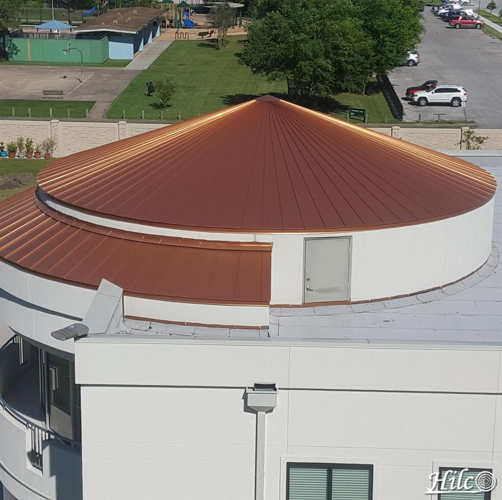 Circular steel colored metal roofing